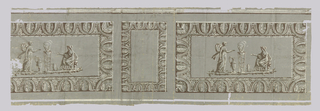 Printed in grisaille, with gray, white, brown in classical revival motifs. Alternating small, vertical oriented rectangles and large horizontal rectangles, each with ornamental borders of foliage, stylized and regularized. In each of the larger rectangles, tripod topped by smoking fire in shallow pan, flanked by two women in classical flowing dresses, one presenting dish to the other who kneels on a little stool, hand outstretched. Ewer and tall vessel with handles.