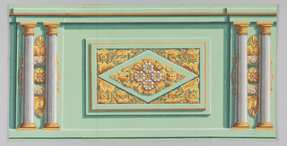 Panel dado with acanthus rinceau around central diamond motif, with two columns on either side, printed in white, yellows and greens on green ground.  H# 210 ?, 312 ?