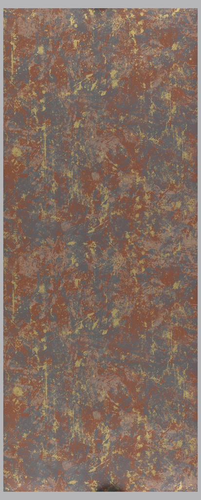 All-over repeating pattern of splotches and spatters, printed in brown, gray and gold.