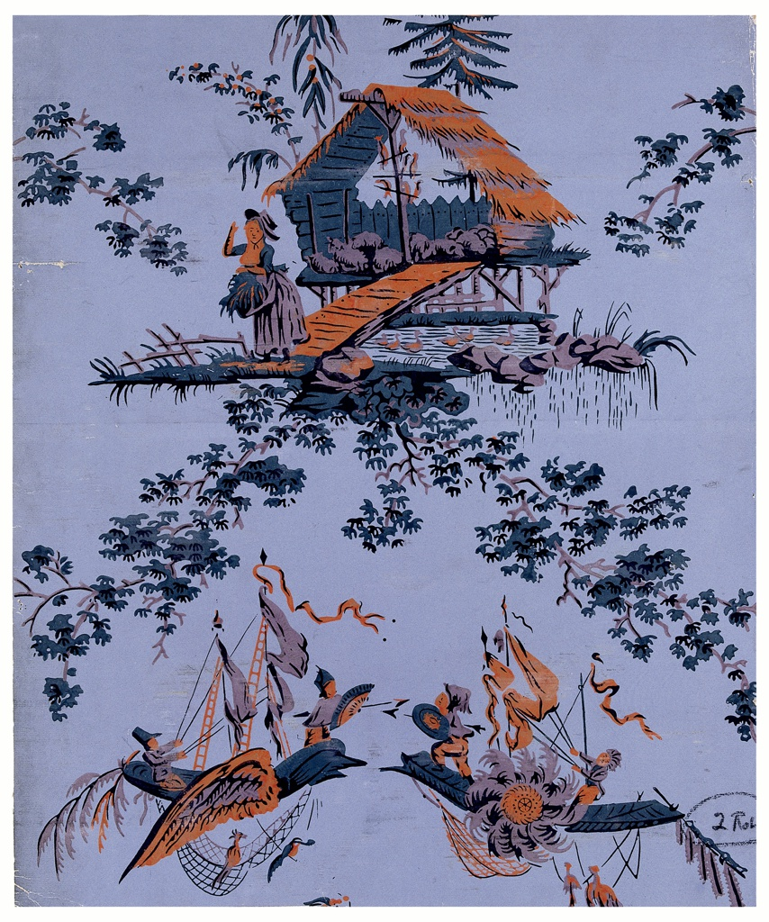 Chinoiserie depicting shepherdess guarding her flock, alternating with a pair of boats involved in aerial combat.