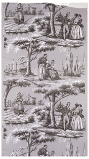 Landscape views with figures; scenes are separated by trees. Printed in grisaille on light gray ground.