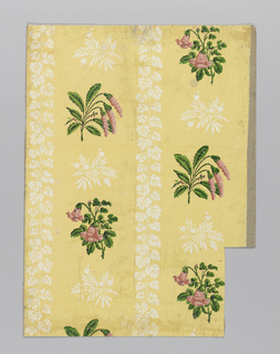 Floral stripe, with two different pink floral sprigs alternating. The rows are separated by foliate sprays, while the columns are separated by a foliate stripe. Printed on white, pink and varnished green on yellow ground.