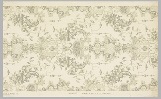 Reproduction of earlier paper, Renaissance Revival style printed in 2 shades of gray on off-white ground.