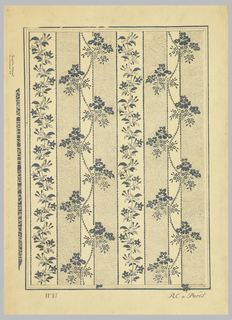 Vining floral stripe. Alternating bands, with scalloped edges, of unprinted and stippled stripes. Printed in black ink on tan paper. No. 57
