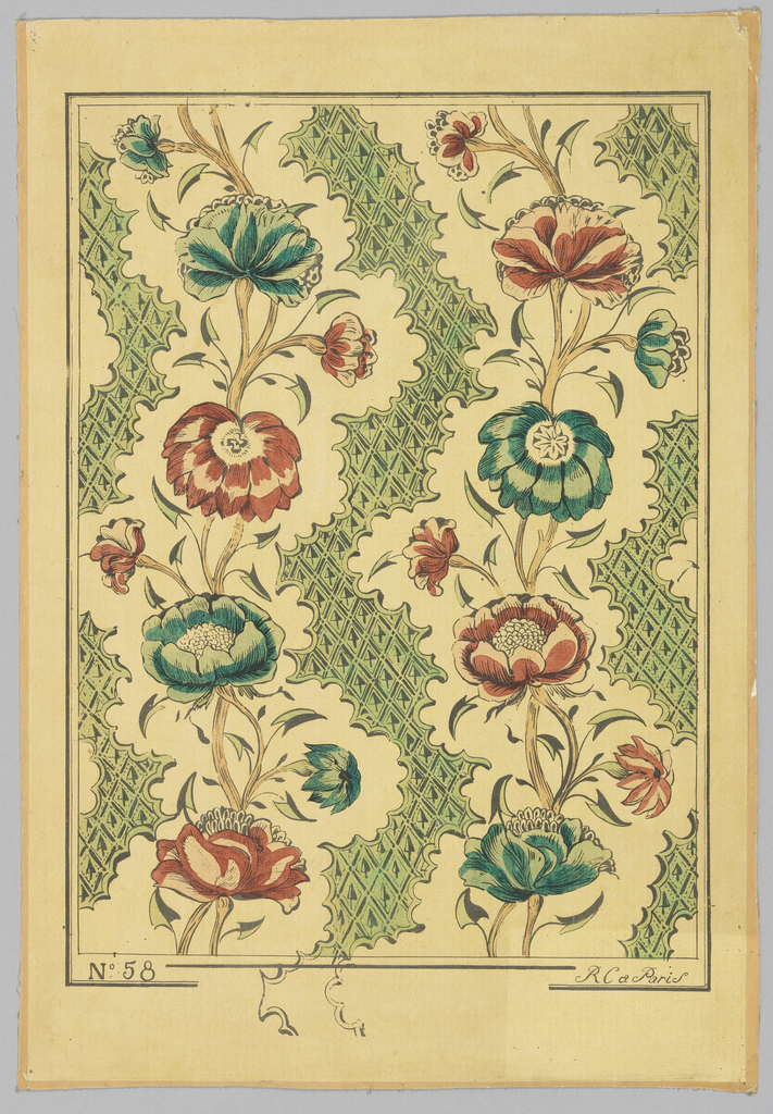 2 columns of vining flowers, alternating between red and green. Each column is separated by a herringbone trellis band. Printed in green, red, tan and black on beige paper. No. 58, reproduction.
