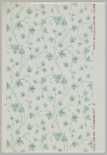 Scrolling ivy, printed in 2 shades of green, with red and off-white highlights on pale green ground.