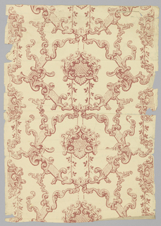 Rococo revival; scrolling red framework and lattice medallions. Printed on buff-colored ground.