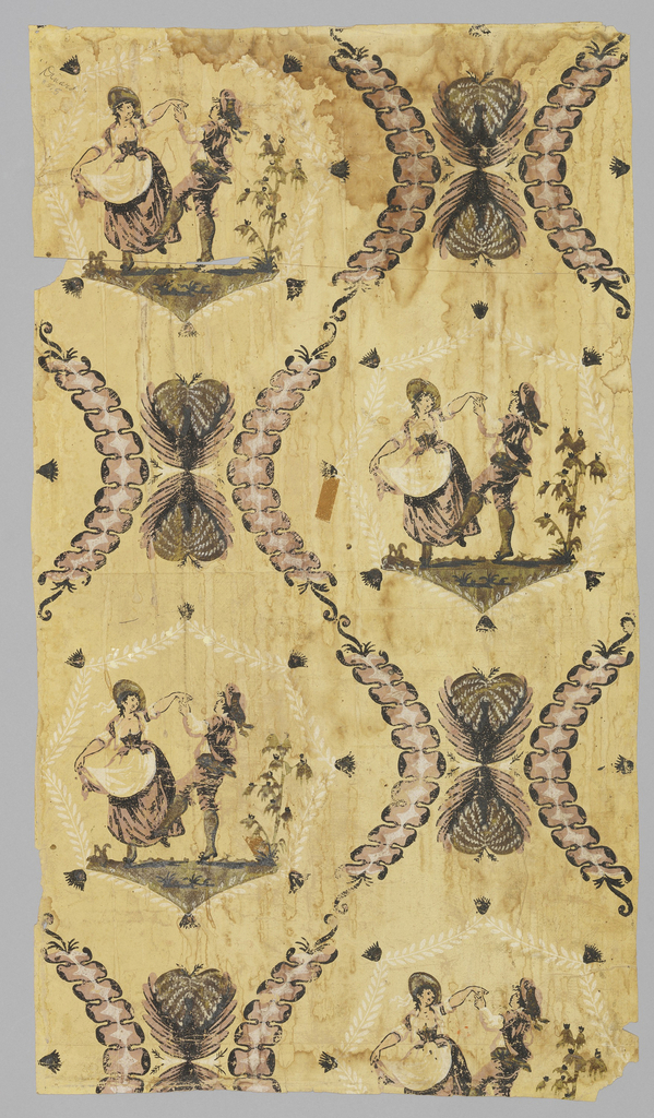 Diaper pattern with repeating scene of couple dancing. Diaper framework composed of strung beads resembling vertebrae. Separating the scenes are a pair of feathers in the shape of hearts. Printed in varnished green, mauve, black and white on pale yellow ground. Two pieces of original document for Dinard, couple dancing, France, c. 1780