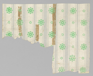 Green floral motifs, alternating large and small, printed between rows of vertical gray stripes. Printed on off-white satin ground.