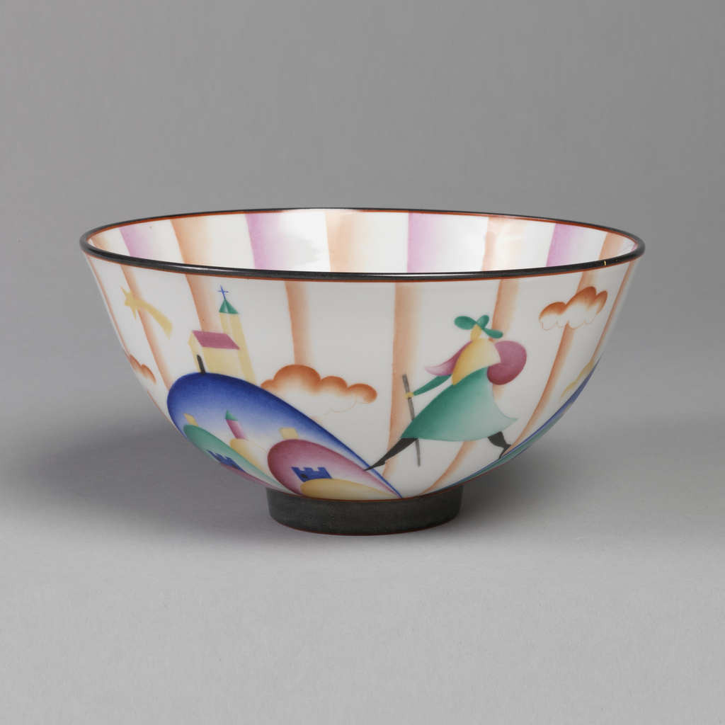 Tapering circular bowl with polychrome decoration of stylized traveller striding between mountain, castle and church amongst clouds and vertical bands; interior decorated with vertical bands on white ground.