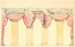 Drawing, Design for Curtains on the East Wall of the Music Room, Royal Pavilion, Brighton