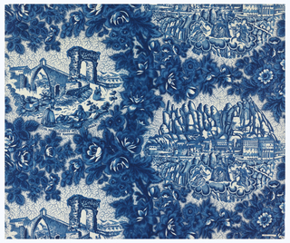 "Two Catalonian landscape scenes in blue on white surrounded by densely flowering branches. The first scene, ""Vista del Puente del Diablo en Martorell,"" shows a medieval bridge with a pointed arch. There is a path to the bridge where a man reclines by a stone wall and a strolling couple moves toward the Roman arch that stands before bridge. The second scene, ""Vista del Monasterio de Montserrat,"" shows the monastery with the serrated mountains in the background. The Virgin of Montserrat is seated in the foreground on a bed of clouds and is attended by two angels."