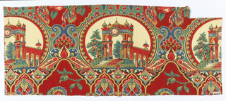 Large oval medallions framing a domed portico with twisted columns and a clock face, in an arabesque framework with stylized floral decoration. In very brilliant red, pink, blue, yellow and black on a white ground.