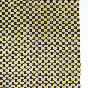 Length of printed cotton in a overall small-scale checkerboard pattern, in dark blue and white overprinted with blurred striations of lemon yellow. White plain cloth unprinted selvedges.