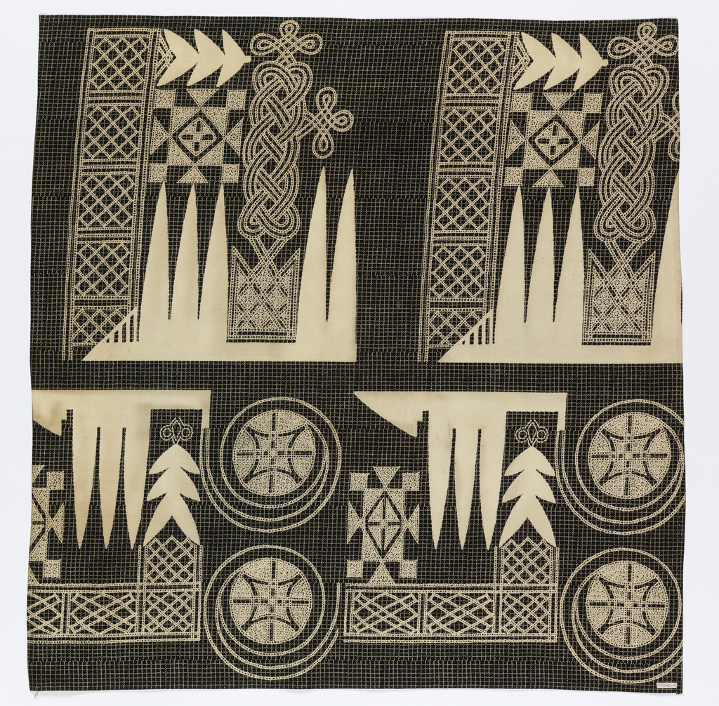 "Printed cotton with a large-scale repeating design composed of interlace motifs, stars inside of spirals, and the ""eight swords"" motif. The design is in imitation of the embroidery on riga or robes worn by Hausa men in Nigeria. Printed in white on a small-scale windowpane check of white on a dark blue ground."