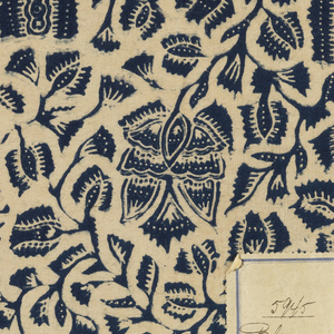 Blue on a white ground in an allover floral design imitative of batik from Java.