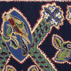 Length of printed cotton with a large-scale diamond lattice; a shield shape a the crossings holds a parrot on a branch. With floral bouquets, paisley forms, and small animals. In dark blue, medium blue, green, yellow, red and white on a dark blue ground. Narrow border on top and bottom.