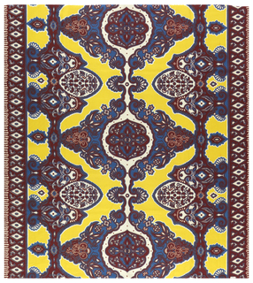 Printed cotton with a stylized ogival pattern in dark red, yellow and bright blue on a white ground. Narrow borders on two sides with white diamonds on a dark red ground.