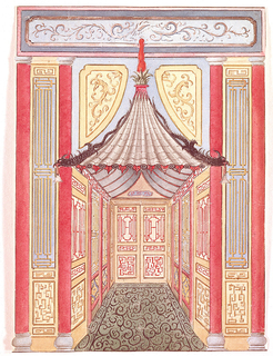 Perspective view of a narrow corridor, with a doorway at the far end. In the foreground, the wall leading to the area has a pagoda-like canopy over the entrance. On either side of the door is a pair of columns with trellis-work panels between them. Trellis-work panels cover the walls of the corridor and doors.  The very elaborate and highly worked designs appear both on the walls and in the carpet. The abstract treatment of the dragon slithering down the edge of the canopy creates an abstract scrolling pattern seen in other designs. Designed for glass passage.