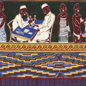 Length of printed cotton with wide bands of African men, women and children being examined by African doctors in white coats and caps, and of doctors looking through microscopes. Separated by stripes with scrolls. Wide borders of stepped diamonds top and bottom. In dark brown, bright blue, dark green, yellow and white.