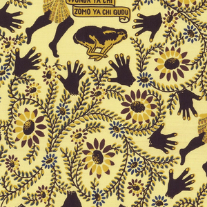"""Length of printed cotton with a pale yellow ground and a design in brown, blue and red of hands, running legs, and rabbits, surrounded by curving vines. With inscription reading """"Wonda ya chi, Zomo ya chi gudu,"""" translated from the Hausa as """"Whoever catches a hare has to run for it."""""""