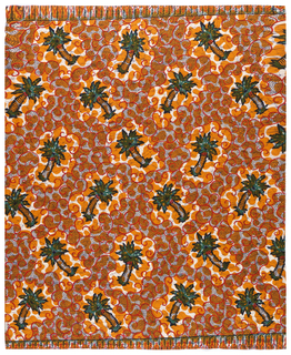 Cotton printed in Imitation of batik with a pattern of scattered palm trees surrounded by scrolling lines. In black, dark blue, green, orange, red and white, with crackle effect in dark blue.
