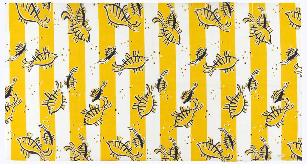 Printed cotton with yellow and white vertical stripes and a linear design of fish in black. Bubbles throughout.