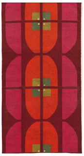 Length of printed velveteen with a large-scale geometric design of pink ovals bisected by orange ovals, each bisected horizontally and vertically by red lines; at the intersection, a green square with yellow dots in center. On a red ground.