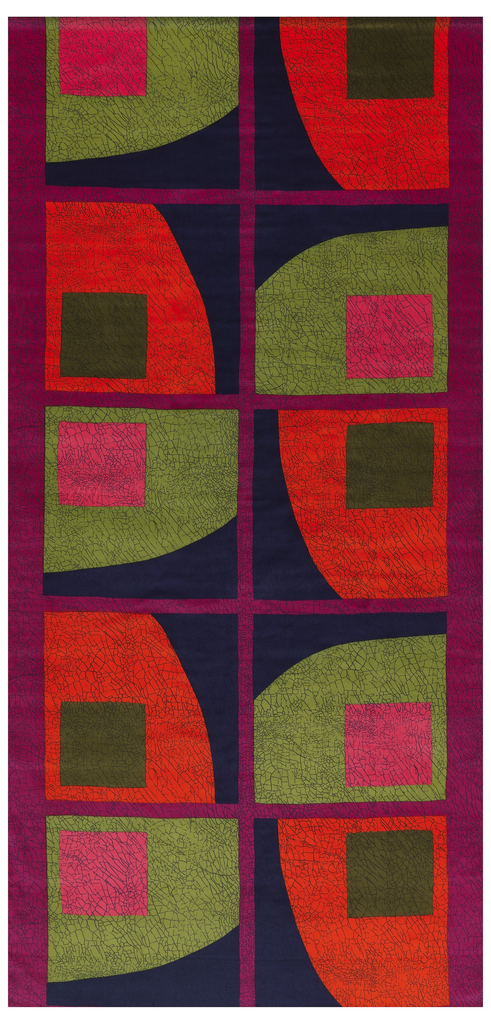 Length of printed velveteen with a large-scle abstract design of a grid of blue squares on a red ground, each square containing a smaller square of pink of navy, within a curved shape of orange or green, respectively.