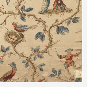 Light tan ground printed with chinoiserie design of figures in Oriental costume, birds and flowering serpentine branches.