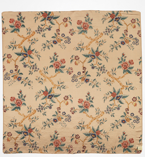 Light tan satin printed in design of broken branches with flowers and leaves.