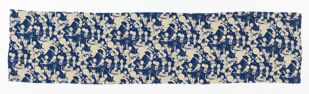 Strip of printed dress silk with a stylized design of a jazz orchestra, in dark blue on white ground.