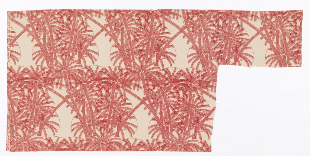 Linear drawing of palm trees printed in red on white.