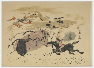 Indians on horseback chasing buffalo with mountains and teepees in the background, in black, brown, blue, mauve and greys on a beige ground.
