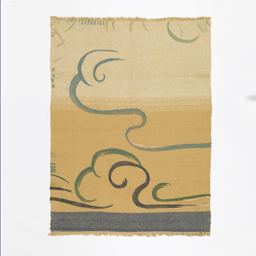 Swirling lines in grays, black and gold on a fabric with wide bands of white, yellow and blue.