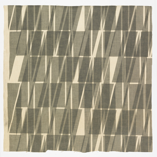 Piece of printed linen with rectangles and parallelograms printed in sheer gray ink, giving a design of dark gray and white triangular forms in a loose grid.