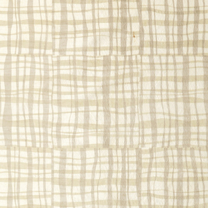 Length of printed fabric with a grid of boxes filled with an irregular plaid in beige and grey on an off-white ground. The screen direction is flipped between each impression.