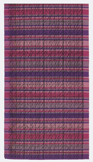 Commercially woven cotton fabric with horizontal stripes of pinks and purples, overprinted with a grid of zig-zag black lines.