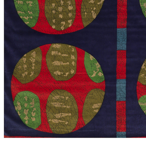 Length of printed velveteen with a large-scale abstract design. A dark blue ground is divided into a grid by red bars; within each square are four circles, each filled with a pattern of irregular green ovals with tan lines.