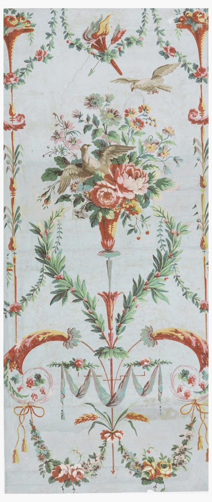 Vertical rectangle of joined sheets of paper. Large basket of flowers with dove flying out from its midst; another dove above, to right. Along each margin, slender shaft with occasional foliation, intercepted by small urn of flowers. Scrolls and swags of foliage and drapery, and crossed arrow and torch above large basket; diagonal yellow dotting on field.