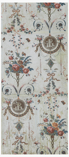Vertical rectangle of joined sheets of paper. Alternating medallion in grisaille of a woman standing with a sacrificial goat at an altar, and flower baskets from which is draped a wide ribbon. Above and below, large basket of flowers. Joining the various units of the design are arabesques of ribbon bows, scrolls, flower garlands and butterflies.