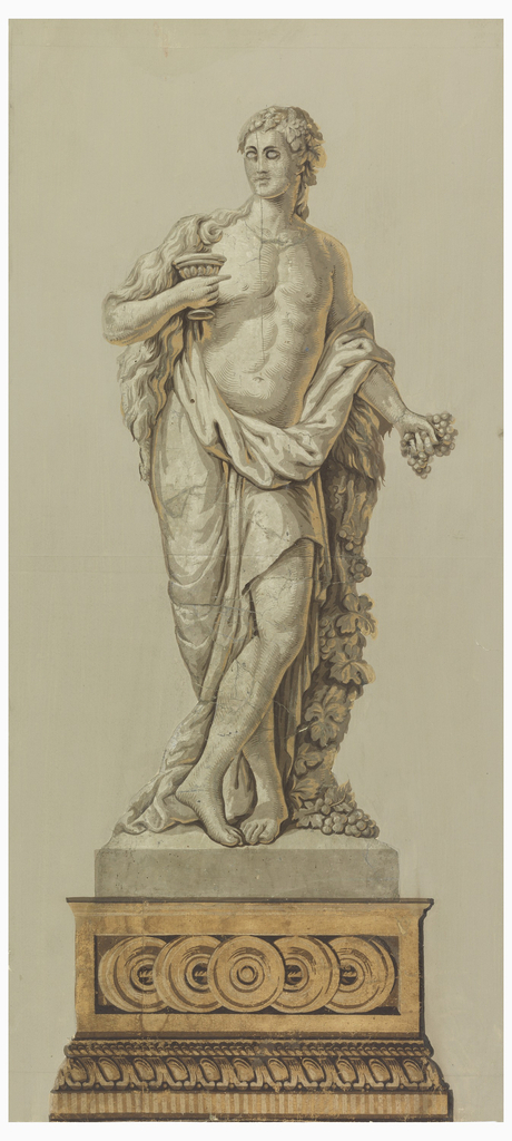 Vertical rectangle. Male figure, suggestive of sculpture, in the costume of classical antiquity, with the attributes of a Bacchante: grapes in one hand, and goblet in the other. He stands on a pedestal with guilloche decoration. Printed in grays and neutral yellow on gray ground.