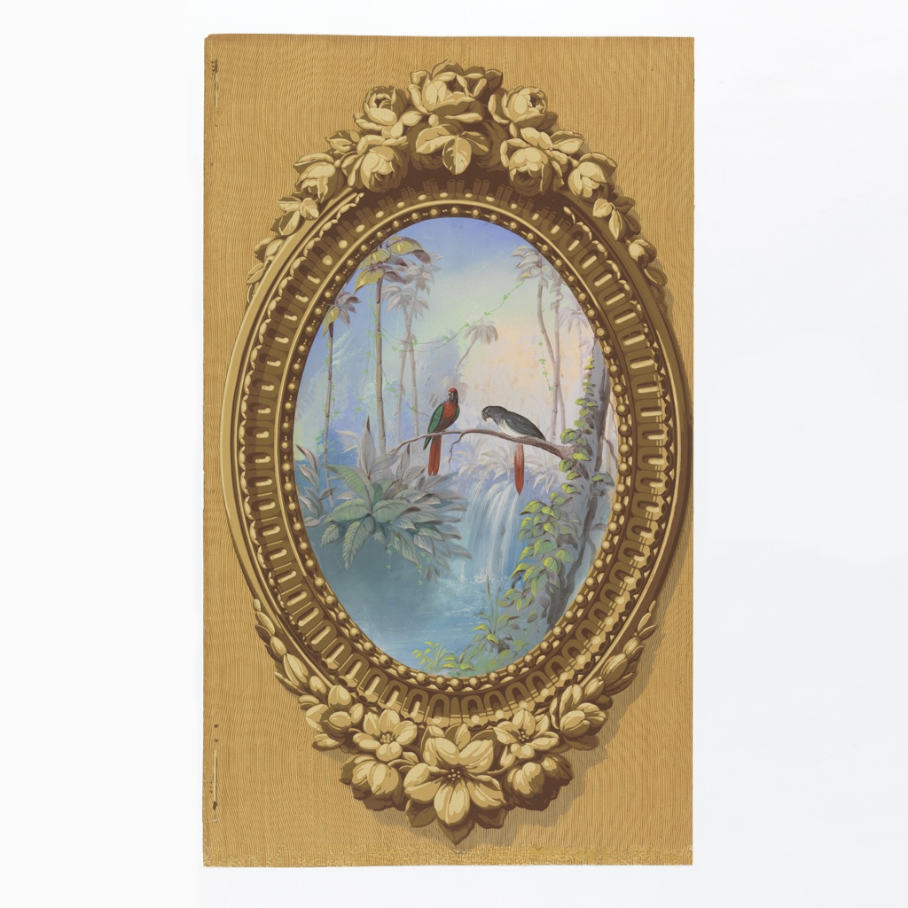 Vertical rectangle. Simulation of elaborately carved wood frame, oval, brought to the rectangle by simulated surface of graining. Enclosed in the frame is a painted representation of macaws in a setting of tropical foliage with a waterfall in the background.