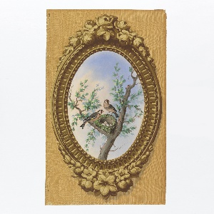 Vertical rectangle. Simulation of elaborately carved wood frame, oval, brought to the rectangle by simulated surface of graining. Enclosed in the frame is a painted representation of foliage with two small goldfinches and a nest containing eggs.