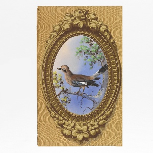 Vertical rectangle. Simulation of elaborately carved wood frame, oval, brought to the rectangle by simulated surface of graining. Enclosed in the frame is a painted representation of foliage and a mocking bird.