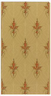 Drop repeating arrangement of stylized orange, yellow border fleur-de-lis slightly enframed with leafy tendrils. Floral and scroll forms in cream make a linear background pattern.