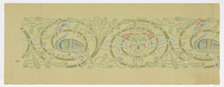 Celtic design. Continuous foliate rinceau, the scrolls of which enframe alternately two major motifs (a) a peacock in profile; (b) the heads of two birds addorsed. Greens predominate with lesser amounts of blue, lavender and red. Interlacings. Printed on heavy pale green paper.