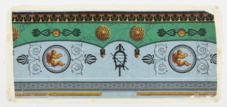 Dado pattern of five brightly-colored horizontal bandings. Bottom to top: 1) narrow gold and brown geometric architectural border; 2) gray diamonds; 3) principal banding - pale blue marbleized ground with black decorative circles around yellow and brown winged cupids playing with butterflies. Foliage and palmette ornament, black lyre; 4)banding of bright marbleized green with gold and brown bosses, circles, and black palmettes; 5) black simplified acanthus leaves over band shading from yellow to brown.