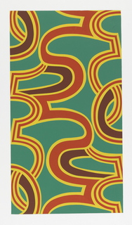 On bright, strong green ground, large swirls of red and maroon outlined in wide bands of bright yellow. From Palladio 8.