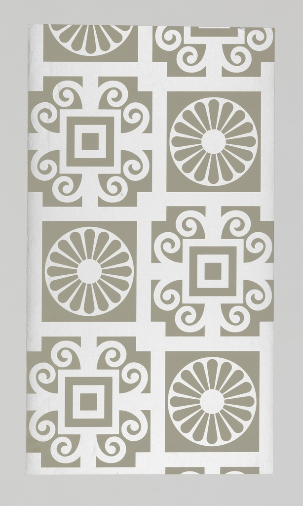 Flat silver geometric pattern of squares, scrolls and circles on gray ground.